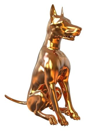 3D Illustration Golden Yellow Dog Isolated On White