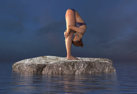 3d illustration beautiful girl doing yoga at sea Stock Photo