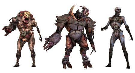 Cyborgs monsters 3d illustration