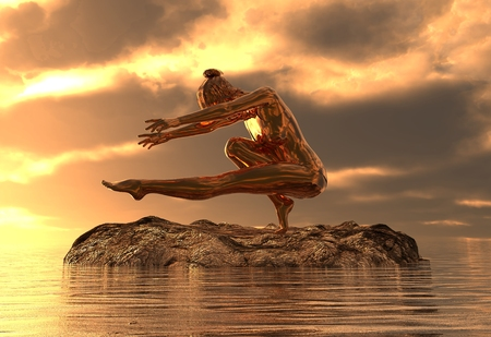 3D illustration statue golden girl doing yoga at sea 스톡 콘텐츠