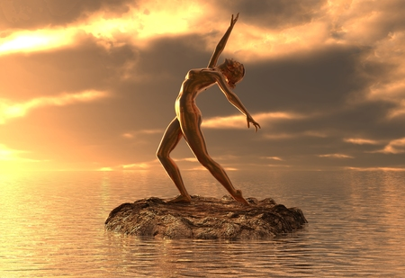 3D illustration statue golden girl doing yoga at sea Stock Photo