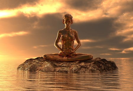 3D illustration statue golden girl doing yoga at sea Stock Photo