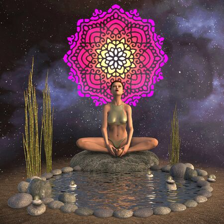 Beautiful girl doing yoga and meditation 3d illustration