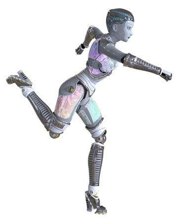 Female robot isolated on white 3d illustration Stock Photo