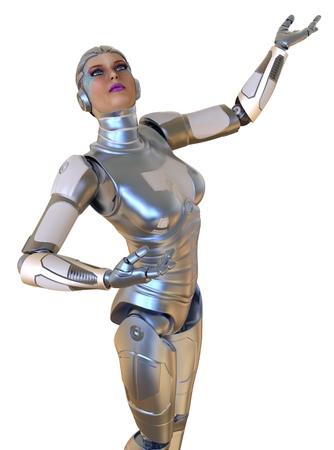Female robot isolated on white 3d illustration Stock Photo