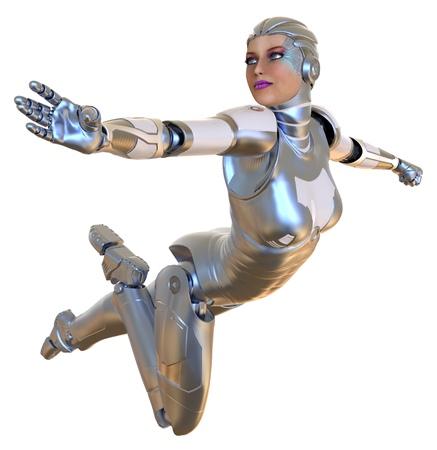 Female robot isolated on white 3d illustration 스톡 콘텐츠