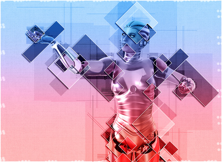 3D illustration female cyborg in collage style
