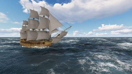 3D illustration sailboat at sea on a sunny day