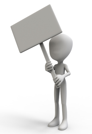 3D man with a sign isolated on white background 3d illustration