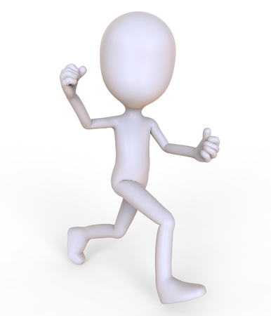 3D man at blank space isolated on white background 3d illustration
