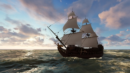 3D illustration sailboat at sea in the evening at sunset