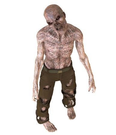 Zombie 3D illustration isolated on white background