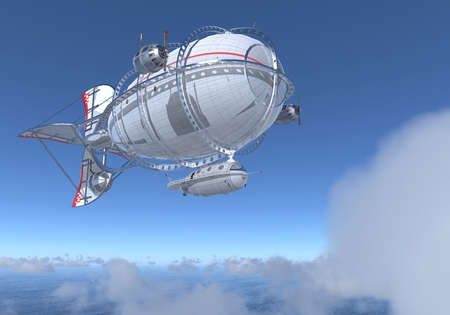 Fantasy Airship Zeppelin Dirigible Balloon 3D illustration Reklamní fotografie