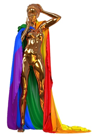 3D illustration golden sculpture with LGBT flag isolated on white Stock Photo