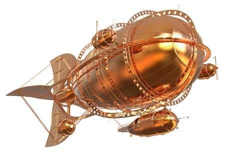 3D illustration Golden Fantasy airship Zeppelin Dirigible balloon isolated on white Stok Fotoğraf