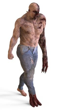 Mutant monster isolated on white background 3d illustration