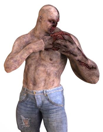 3D illustration mutant monster isolated on white background