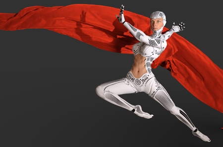 Woman cyborg dancing with a red cloth 3d illustration