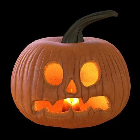 Jack O Lantern Pumpkin isolated on black background 3D illustration Stock Photo