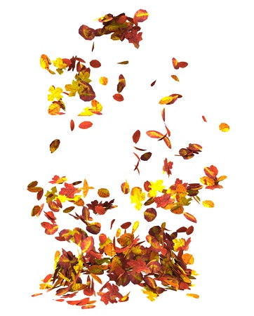 Autumn leaves isolated on white background 3D illustration