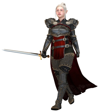 Woman elf warrior with sword isolated on white background 3D illustration