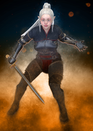 Woman elf warrior with sword on fantasy abstract background 3D illustration