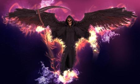 Engel des Todes auf abstrakter Fantasiehintergrund 3D-Darstellung Standard-Bild