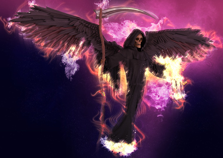Angel of death on abstract fantasy background 3d illustration