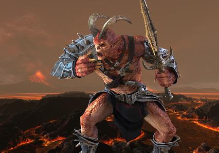 3D illustration demon monster on fantasy background
