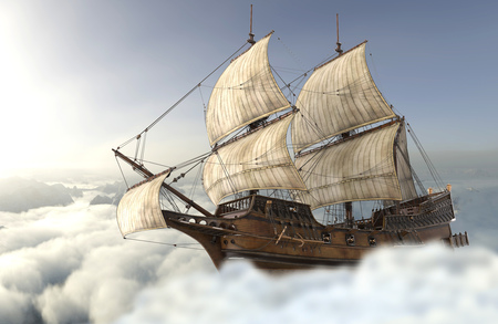 3D illustration sailboat flying above the clouds Stock Photo