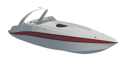 Speedboat Isolated on white background 3D illustration