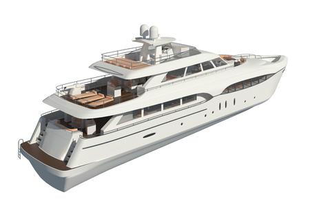 Yacht isolated on white background 3D illustration