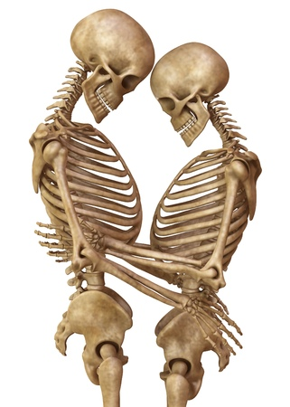 Skeletons of man and woman in the pose of lovers. Isolated on white background 3d illustration