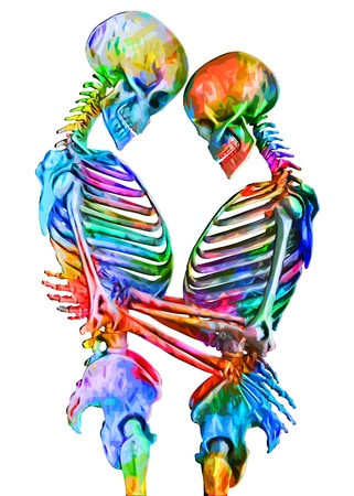 Skeletons of man and woman in the pose of lovers in multicolored abstract style illustration Isolated on white background