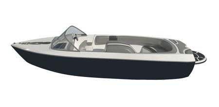 Powerboat Isolated on white background 3d illustration 版權商用圖片