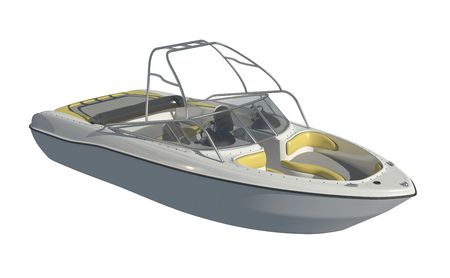 Powerboat Isolated on white background 3d illustration Imagens