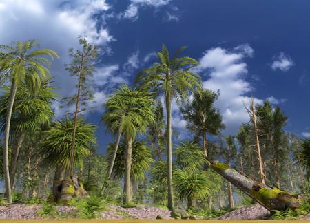 Forest of the mesozoic era 3D illustration