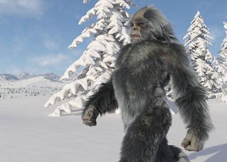 Yeti winter in the forest 3d illustration Stock Illustration - 133017617