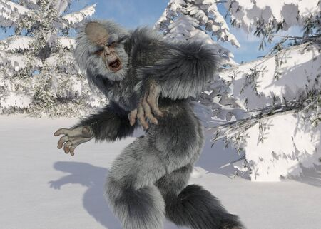 Yeti winter in the forest 3d illustration Stock Photo