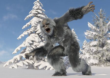 Yeti winter in the forest 3d illustration Stock Illustration - 133016754
