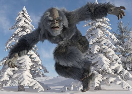 Yeti winter in the forest 3d illustration Banco de Imagens
