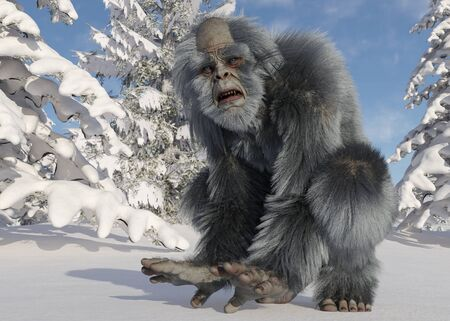 Yeti winter in the forest 3d illustration Archivio Fotografico - 133695806