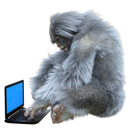Yeti with laptop concept 3d illustration isolated on white background Archivio Fotografico - 133695814