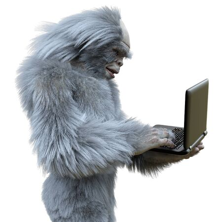 Yeti with laptop concept 3d illustration isolated on white background Banco de Imagens