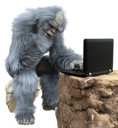 Yeti with laptop concept 3d illustration isolated on white background Archivio Fotografico - 133695824