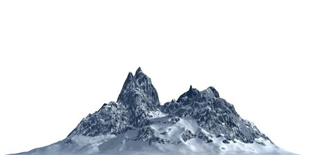 Snowy mountains Isolate on white background 3d illustration Banco de Imagens