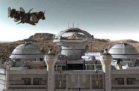 Mars colony. Expedition on alien planet. Life on Mars. 3d Illustration. Banco de Imagens
