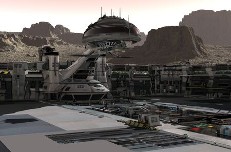Mars colony. Expedition on alien planet. Life on Mars. 3D Illustration