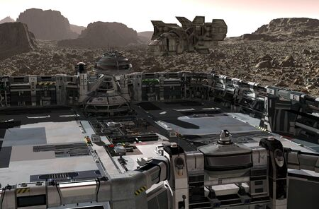 3D Illustration. Mars colony. Expedition on alien planet. Life on Mars. Banco de Imagens