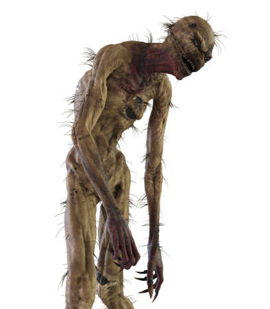Straw man scarecrow monster isolated on white background 3d illustration